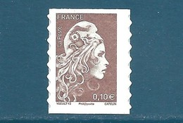 N°???? Marianne D'Yseult 0,10€ Brun Clair Autoadhésif Neuf** (issu De Feuille) - 2018-... Marianne L'Engagée