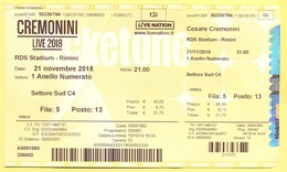 CONCERTO - CREMONINI - LIVE 2018 - RDS Stadium Rimini - Biglietto D'ingresso - Ticket - 1 Anello Numerato - Used - Tickets D'entrée