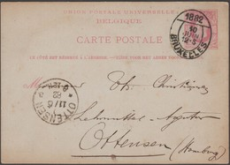 Belgique 1882 Superbe Oblitération Journaux De Bruxelles, Entier Pour Ottensen, Hambourg - Marcophilie