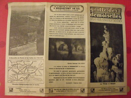 Publicité Grotte Des Demoiselles. Thaurac, Saint Bauzille De Putois, Montpellier. Dépliant Vers 1935 - Publicités