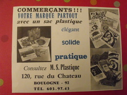 Publicité Sac Plastique Illustré Pour Commerçants. M.S. Plastique. Boulogne Vers 1960 - Publicités