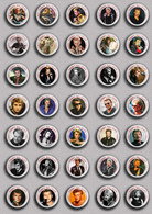 Johnny Hallyday Music Fan ART BADGE BUTTON PIN SET 2 (1inch/25mm Diameter) 35 DIFF - Music