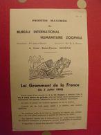 2 Feuillets Maximes Du Bureau International Humanitaire Zoophile. Genève. Loi Grammont + Oiseaux Vers 1930 - Alte Papiere