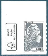 N°???? Marianne D'Yseult Ecopli Gris Autoadhésif Neuf** (issu De Feuille) + Logo FSC - 2018-... Marianne L'Engagée