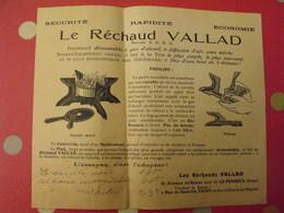 Publicité Le Réchaud Vallad. Le Perreux. Vers 1930 - Vieux Papiers