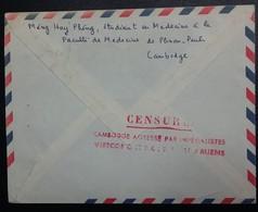 "Env CAMBODGE CACHET ""CENSURE CAMBODGE AGRESSE PAR IMPERIALISTES VIETCONG ET NORD VIETNAMIENS"" - Cambodge"