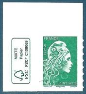 N°???? Marianne D'Yseult Lettre Verte Autoadhésif Neuf** (issu De Feuille) + Logo FSC - 2018-... Marianne L'Engagée