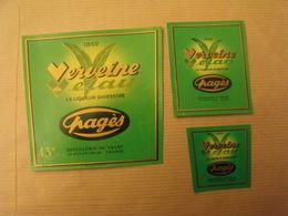 Publicité Lot D'étiquettes De Bouteille Verveine Du Velay Pagès. Distillerie. Depuis 1853 - Publicités