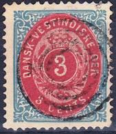 2018-0041 DWI 1881 Mi 6IIa Dent. 14:13,5 Blue/carmin Used O Rare Colour With Inversed Frame! - Denmark (West Indies)