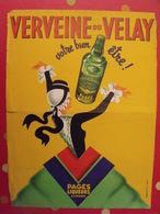 Affiche Publicitaire Verveine Du Velay. Pagès Liqueurs Auvergne. Dessin Signé Duchêne Vers 1950-60 - Publicités