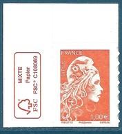 N°???? Marianne D'Yseult 1,00€ Orange Autoadhésif Neuf** (issu De Feuille) + Logo FSC - 2018-... Marianne L'Engagée