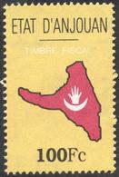 Comores ANJOUAN INDEPENDANTE (1997-2001) - Timbres Fiscal 100 Fc Neuf ** - Revenue Stamp MNH - Carte De L'île - Comores (1975-...)