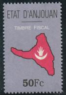 Comores ANJOUAN INDEPENDANTE (1997-2001) - Timbres Fiscal 50 Fc Neuf ** - Revenue Stamp MNH - Carte De L'île - Comores (1975-...)