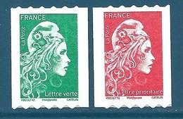 Paire N°???? Marianne D'Yseult Roulettes Lettre Verte + Prioritaire Autoadhésif Neuf** - Neufs