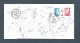 AUTOGRAPHE JOUEURS FOOTBALL.. MONTPELLIER SAISON 1987 1988 ..CUBAYNES ...LAUREY ...RUST....LEMOULT - Football