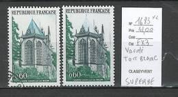France - Yvert 1683 Sainte Chapelle Riom**  - TOIT BLANC  - Superbe Variété - Variétés Et Curiosités