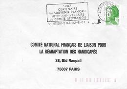 CENTENAIRE DU SOUVENIR FRANÇAIS SAINT-ETIENNE Au 22-6-87 - Postmark Collection (Covers)