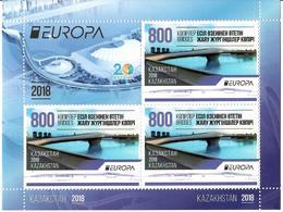 Kazakhstan.2018 EUROPA 2018 (Bridge). Sheetlet Of 3 + Label - Kazakhstan