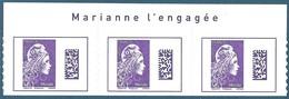 Bande De 3 N°???? Marianne D'Yseult Monde Datamatrix Violet Autoadhésif Neuf** + Avec Inscription Sur Le Bord De Feuille - 2018-... Marianne L'Engagée