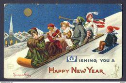 NEW YEAR Girls Boys Sleigh Horn Night Full Moon Gold Gilt Bernhardt WALL A/s - New Year