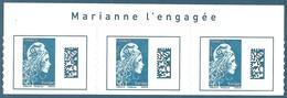 Bande De 3 N°???? Marianne D'Yseult Europe Datamatrix Bleu Autoadhésif Neuf** + Avec Inscription Sur Le Bord De Feuille - 2018-... Marianne L'Engagée