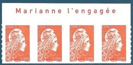 Bande De 4 N°???? Marianne D'Yseult 1,00€ Orange Autoadhésif Neuf** + Avec Inscription Sur Le Bord De Feuille - 2018-... Marianne L'Engagée