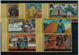 REPUBLIQUE  DE  GUINEE    1967     COSTUMI  REGIONALI  E  ABITAZIONI     7  STAMPS      MNH** - Guinea (1958-...)