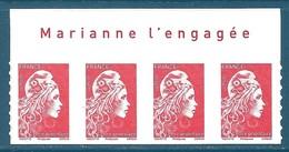 Bande De 4 N°???? Marianne D'Yseult Lettre Prioritaire Autoadhésif Neuf** + Avec Inscription Sur Le Bord De Feuille - 2018-... Marianne L'Engagée