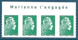 Bande De 4 N°???? Marianne D'Yseult Lettre Verte Autoadhésif Neuf** + Avec Inscription Sur Le Bord De Feuille - 2018-... Marianne L'Engagée