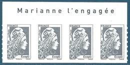 Bande De 4 N°???? Marianne D'Yseult Ecopli Autoadhésif Neuf** + Avec Inscription Sur Le Bord De Feuille - 2018-... Marianne L'Engagée