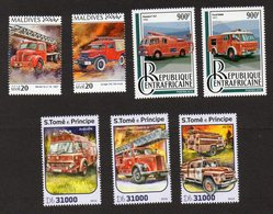 Pompiers - Brandweer - Firemen - Bomberos - 7 Timbres Neufs - Berliet - Ford - Mercedes-Benz - Zil - Bedford - Dodge - Sapeurs-Pompiers