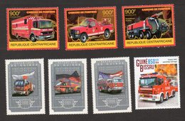 Pompiers - Brandweer - Firemen - Bomberos - 7 Timbres Neufs - Rosenbauer - Ford - Mercedes-Benz - Sapeurs-Pompiers