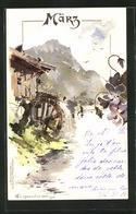 Künstler-AK Theodor Guggenberger: Allegorie, Monta März, Wasserrad An Der Mühle - Guggenberger, T.