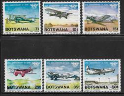 Botswana, Scott # 349-54 MNH Airplanes, 1984 - Botswana (1966-...)