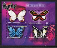 ANTIGUA  Feuillet N° 3431a/d  * *  ( Cote 10e ) Papillons - Papillons