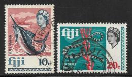 Fiji Scott # 268,270 Used Black Marlin, Sea Snake, 1969 - Fiji (...-1970)