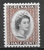 1953 Queen Elizabeth, 1/2 Cent, Mint Never Hinged - Grenada (...-1974)