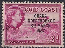 Ghana 1957 - 58 QE2 3d Magenta Ovpt Independence 1957 SG 175  ( H1269 ) - Ghana (1957-...)