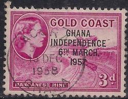 Ghana 1957 - 58 QE2 3d Magenta Ovpt Independence 1957 SG 175  ( H1273 ) - Ghana (1957-...)