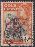 Ghana 1957 - 58 QE2 6d Black & Orange Ovpt Independence 1957 SG 177  ( H1294 ) - Ghana (1957-...)