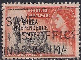 Ghana 1957 - 58 QE2 1/-d Black & Orange Ovpt Independence 1957 SG 178  ( H1271 ) - Ghana (1957-...)