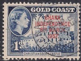 Ghana 1957 - 58 QE2 1d Deep Blue Ovpt Independence 1957 SG 171  ( H1281 ) - Ghana (1957-...)