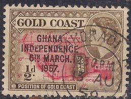 Ghana 1957 - 58 QE2 1/2d Bistre Brown & Scarlet Ovpt Independence 1957 SG 175  ( H1277 ) - Ghana (1957-...)
