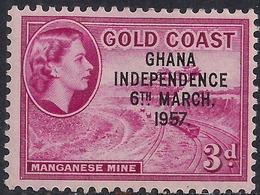 Ghana 1957 - 58 QE2 3d Magenta Ovpt Independence 1957 MM SG 175  ( H1272 ) - Ghana (1957-...)