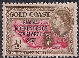 Ghana 1957 - 58 QE2 1/2d Bistre Brown & Scarlet Ovpt Independence 1957 MM SG 175  ( H1276 ) - Ghana (1957-...)