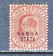 BRITISH  INDIA  NABHA  STATE  35   *   EDWARD  VII   Wmk.. STAR - India (...-1947)