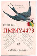 CPA - Oiseau En Découpis -  Méssagère D' Amour - Devinez Qui ? - J'attends... J'espère - Scans Recto-Verso - Oiseaux