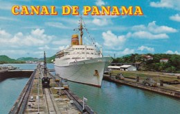 Panama Canal Large Tourist Liner Passing Through Miraflores Locks - Panama