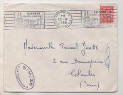 MILITARIA 1956 - GIM / 25 LE VAGUEMESTRE - FLAMME CONTINUE BAYONNE POUR COLOMBES SEINE - VOIR LE SCANNER - Documents
