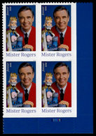 USA, 2018, 5275,Mister Rogers, Plate Block LR, Forever, MNH, VF - Ongebruikt
